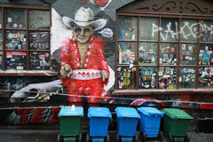 Mural art at AC/DC lane in Melbourne. Stock Photos
