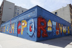 Mural art at Alphabet City in East Village, Lower Manhattan. NEW YORK - APRIL 16, 2015: Mural art at Alphabet City in East Village, Lower Manhattan. A mural is stock photography