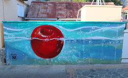Mural art by artist Kate Kova in Gustavia at St. Barts Royalty Free Stock Photos