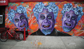 Mural art by artist  Mark Paul Deren, more commonly known as MADSTEEZ, in Little Italy in Manhattan Royalty Free Stock Photography