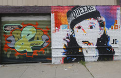 Mural art in Astoria section in Queens Royalty Free Stock Images