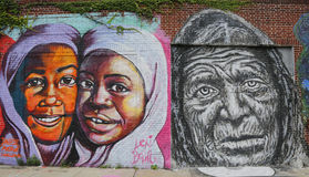 Mural art in Astoria section in Queens. NEW YORK - JULY 24 Mural art in Astoria section in Queens on July 24, 2014. A mural is any piece of artwork painted or Royalty Free Stock Images