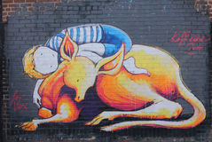 Mural art in Astoria section of Queens. NEW YORK - MARCH 24, 2015: Mural art in Astoria section of Queens. A mural is any piece of artwork painted or applied Royalty Free Stock Photography