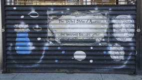 Mural art in Astoria section of Queens. NEW YORK - MARCH 24, 2015: Mural art in Astoria section of Queens. A mural is any piece of artwork painted or applied Royalty Free Stock Photo