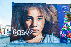 Mural art in Bushwick, Brooklyn, NYC. New York City, USA - October 10, 2015: mural art in Bushwick, Brooklyn. Bushwick is one of NYCs major street art hubs, with Royalty Free Stock Photo