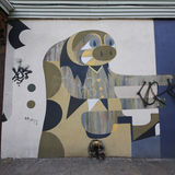 Mural art at East Williamsburg in Brooklyn. Royalty Free Stock Images