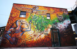 Mural art at East Williamsburg in Brooklyn Royalty Free Stock Photo
