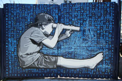 Mural art by Joe Iurato at East Williamsburg in Brooklyn Royalty Free Stock Photos