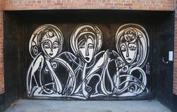 Mural art by mural artist Jordan Betten in Chelsea neighborhood in Manhattan. NEW YORK - MARCH 12, 2015: Mural art by mural artist Jordan Betten in Chelsea royalty free stock images