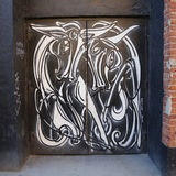 Mural art by mural artist Jordan Betten in Chelsea neighborhood in Manhattan. NEW YORK - MARCH 12, 2015: Mural art by mural artist Jordan Betten in Chelsea stock photography