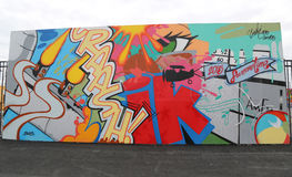 Mural art at new street art attraction Coney Art Walls at Coney Island section in Brooklyn Royalty Free Stock Photo