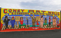 Mural art at new street art attraction Coney Art Walls at Coney Island section in Brooklyn Royalty Free Stock Photography