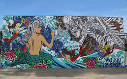 Mural art at new street art attraction Coney Art Walls at Coney Island section in Brooklyn Royalty Free Stock Image