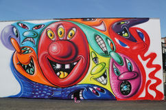 Mural art at new street art attraction Coney Art Walls at Coney Island section in Brooklyn Royalty Free Stock Photos