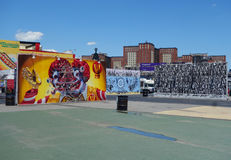 Mural art at new street art attraction Coney Art Walls at Coney Island section in Brooklyn Stock Images