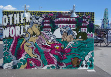Mural art at new street art attraction Coney Art Walls at Coney Island section in Brooklyn Stock Photo