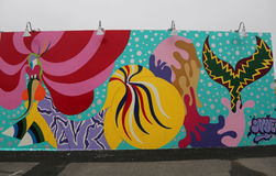 Mural art at the new street art attraction Coney Art Walls Stock Image
