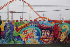 Mural art at the new street art attraction Coney Art Walls Stock Images