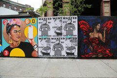 Mural art at new street art attraction Underhill Walls at Prospect Park in Brooklyn Stock Image