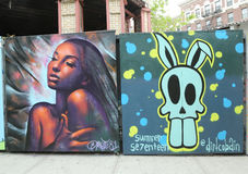 Mural art at new street art attraction Underhill Walls at Prospect Park in Brooklyn Stock Photography