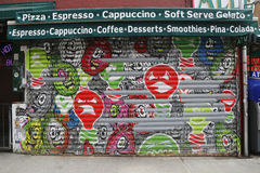 Mural art. NEW YORK - FEBRUARY 26, 2015: Mural art Explosive illumination by Spud x Meres One in Little Italy royalty free stock photography