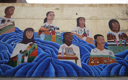 Mural art at Prospect Heights neighborhood in Brooklyn. NEW YORK - DECEMBER 14: Mural art at Prospect Heights neighborhood in Brooklyn on December 14, 2014. A Royalty Free Stock Photography
