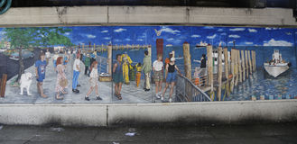 Mural art in Sheepshead Bay section of Brooklyn. NEW YORK - FEBRUARY 22, 2015: Mural art in Sheepshead Bay section of Brooklyn. A mural is any piece of artwork royalty free stock images