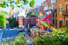 Mural of artist Kobra in Manhattan, NYC Royalty Free Stock Images
