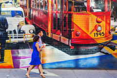 Mural of artist Kobra in Manhattan, NYC Stock Photography