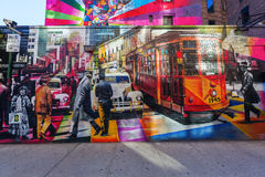 Mural of artist Kobra in Manhattan, NYC Stock Photos