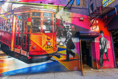 Mural of artist Kobra in Manhattan, NYC Royalty Free Stock Photography