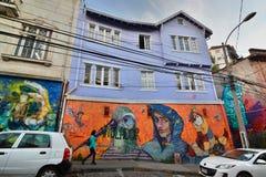 Mural artwork in Cerro Alegre district. Valparaiso. Chile Stock Photography