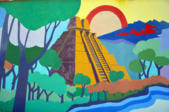 Mural azteca de la pirámide Fotografía de archivo