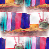 Mural  background  seamless books, pens pattern Stock Photos
