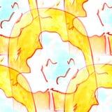 Mural  background  seamless tree, sun pattern Royalty Free Stock Photo