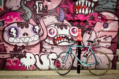 Mural with blue bike Stock Photos
