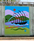 Mural Of A Boat Sailing The Ocean On A Bridge Underpass On James Rd in Memphis, Tn Stock Images