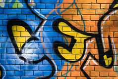 Mural on the brick wall-1 Stock Image