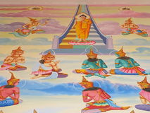 Mural oil color in temple wall Royalty Free Stock Images