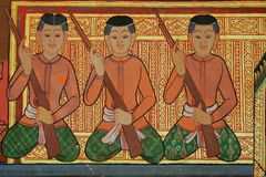Mural Buddhist temple Thailand Stock Photography