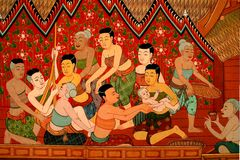 Mural Buddhist temple Thailand Royalty Free Stock Image