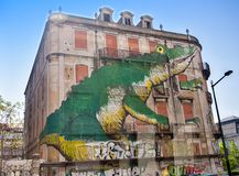 Mural on a building in Lisbon Royalty Free Stock Photography
