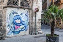 Mural in Carmen neighbourhood in Valencia, Spain Royalty Free Stock Images