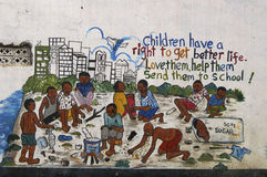 A mural about children`s rights in Uganda, Africa. royalty free stock photo