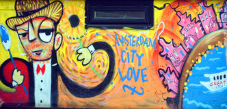 Mural city of love Royalty Free Stock Image