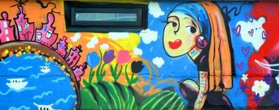 Mural city of love Stock Image