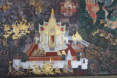 Mural in the cloisters at Wat Phra Kaew in Bangkok, Thailand Stock Images