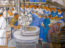 Mural in Coit Tower, San Francisco. Workers in a cannery, a part of the mural 'Industries of California' by Ralph Stackpole in the Lillian Coit Memorial Tower Stock Photos