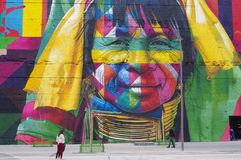 Mural created for Rio Olympics. By Eduardo Kobra, one of Brazils most renowned graffiti artists Stock Photo
