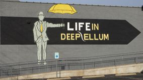 Mural on the Cultural Center in Deep Ellum. Pictured is art on the Cultural Center, Life In Deep Ellum. It was founded in 2006 when Deep Ellum was on the verge stock image
